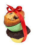 Pastry: Muffin. Two Muffins with red Bow isolated on white Stock Photography