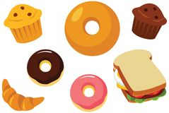 Pastry, Muffin, Doughnut, Bagel and Sandwich Vector Illustration. For many purpose such as print stuff stationary, textile, poster, sticker, food ware, etc and Stock Image