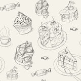 Pastry pattern. Seamless patern with pastry, cakes and sweets. Teatime background Royalty Free Stock Image