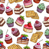 Pastry pattern of patisserie desserts Stock Photography