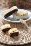 Pastry pie red bean with black sesame. Royalty Free Stock Photography