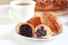 Pastry with plum Stock Photography