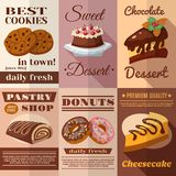 Pastry Poster Set. Pastry and bakery desserts mini poster set isolated vector illustration Royalty Free Stock Photo
