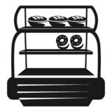Pastry refrigerator icon, simple style stock illustration