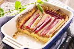 Pastry with Rhubarb. As closeup in a ceramic casserole Royalty Free Stock Image