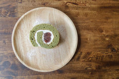 Pastry roll green tea red bean Stock Photography