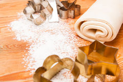 Pastry, rolling pin, eggs and figures for cookies Royalty Free Stock Images