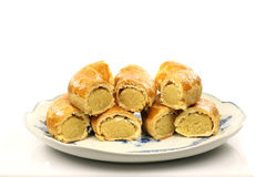 Pastry rolls with almond paste Stock Photo