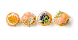 Pastry with salmon, caviar and shrimp Stock Photography