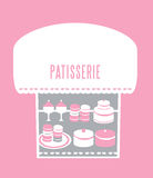 Pastry shop. Collection of pastries, cakes at a window display Royalty Free Stock Photos