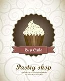Pastry shop. Menu with cup cake .  illustration Stock Photos