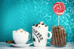 Pastry shop- coffee, cookies and lollipop. Stock Photo