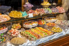 Pastry shop glass display Stock Image