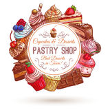 Pastry shop, patisserie emblem. Pastry shop emblem. Patisserie sweets banner. Vector icons of cupcakes, cakes, confectionery, dessert, muffin, biscuit for Royalty Free Stock Images