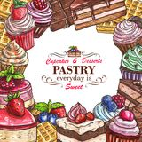 Vector desserts pastry shop sketch poster. Pastry shop sketch menu template for desserts, cakes and candy sweets. Vector patisserie poster design of ice cream Royalty Free Stock Photography