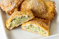 Pastry with spinach Stock Photos
