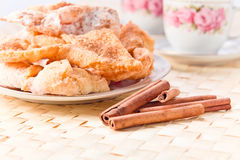 Pastry with sugar and cinnamon Stock Images