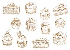 Pastry  and sweet desserts sketches. Sketches of scrumptious cupcakes and muffins in thin paper cups, berry pie and chocolate tiered cake, decorated by butter Royalty Free Stock Photo