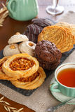 Pastry with tea. Different kind of pastry served with tea stock images