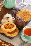 Pastry with tea. Different kind of pastry served with tea Royalty Free Stock Image