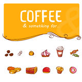 Pastry to coffee hand drawing set Stock Image
