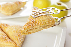 Pastry tongs holding apple turnover Stock Photography