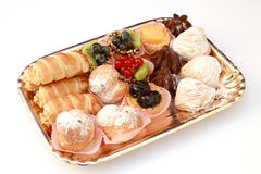 Pastry tray. A tray full of mixed pastry Royalty Free Stock Photography