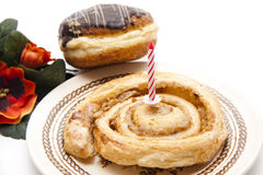Pastry With Birthday Candle Stock Image