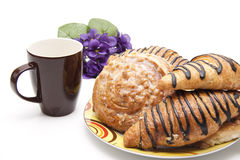 Pastry With Coffee Cup Stock Photos