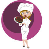 Pastry woman. Young pastry woman with a pie in hand Royalty Free Stock Photo