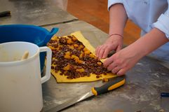 Pastry woman hands preparing sweet. Pastry man hands preparing sweet stuffed with raisins and apricots before putting it into the oven Royalty Free Stock Photos