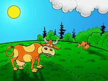 Pasture. Drawn two cows grazing in the meadow in sunny weather Stock Photography