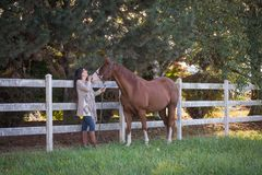 In The Pasture. A connection between a woman and her horse stock images
