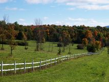 Pasture Fence II. Horse Pasture fence on an autumn country road Royalty Free Stock Photo