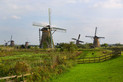 Pasture and Fence, Windmill, Kinderdijk, Netherland Stock Image