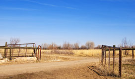 Pasture Gate in a Desolate Prairie Area Stock Image