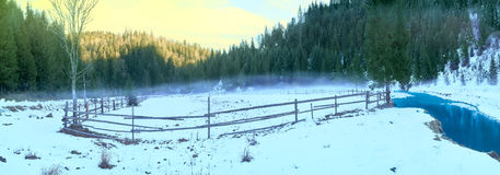 Pasture for horses in winter Royalty Free Stock Photos