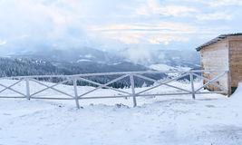 Pasture for horses in winter Royalty Free Stock Images