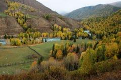 Pasture land with Kanas river. On the way from Hemu village to Kanas Stock Photos