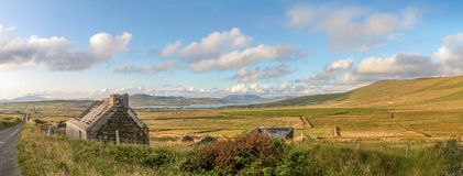Pasture landscape and ruin near Portmagee stock image
