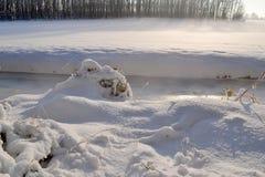 Pasture landskap med snow. Royaltyfri Bild