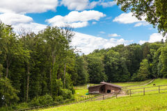 Pasture near Schaffhausen by the hiking trail Stock Photos