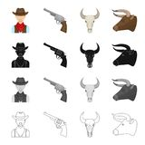 Pasture, rodeo, farm and other web icon in cartoon style. America, Texas, animals, icons in set collection. Royalty Free Stock Images