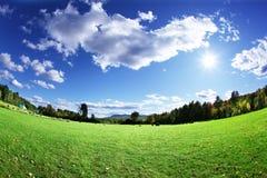 Pasture and sky Stock Photos