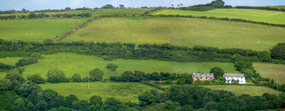 Pastures and farmland in the hills of Exmoor National Park. Two house. UK Royalty Free Stock Image