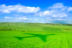 Pastures, sky and clouds and a plane shadow over grass Stock Image
