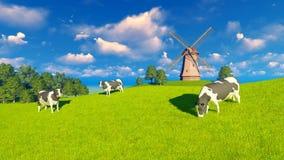 Pastwiskowe nabiał krowy, wiatraczek i ilustracja wektor
