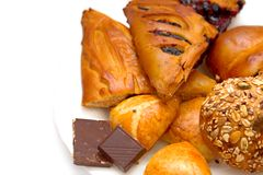 Pasty, плюшки и шоколад Стоковые Фото