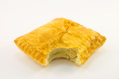 Pasty. Single golden chicken pasty on a white background Stock Photo