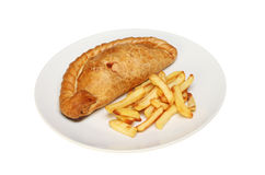 Pasty and chips Royalty Free Stock Image